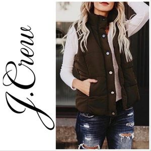 J. Crew Dark Brown Down Puffer Vest XL